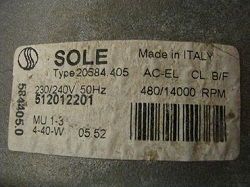 dvigatel SOLE 512012201 Type 20584.405 stiralnoy mashiny Ardo